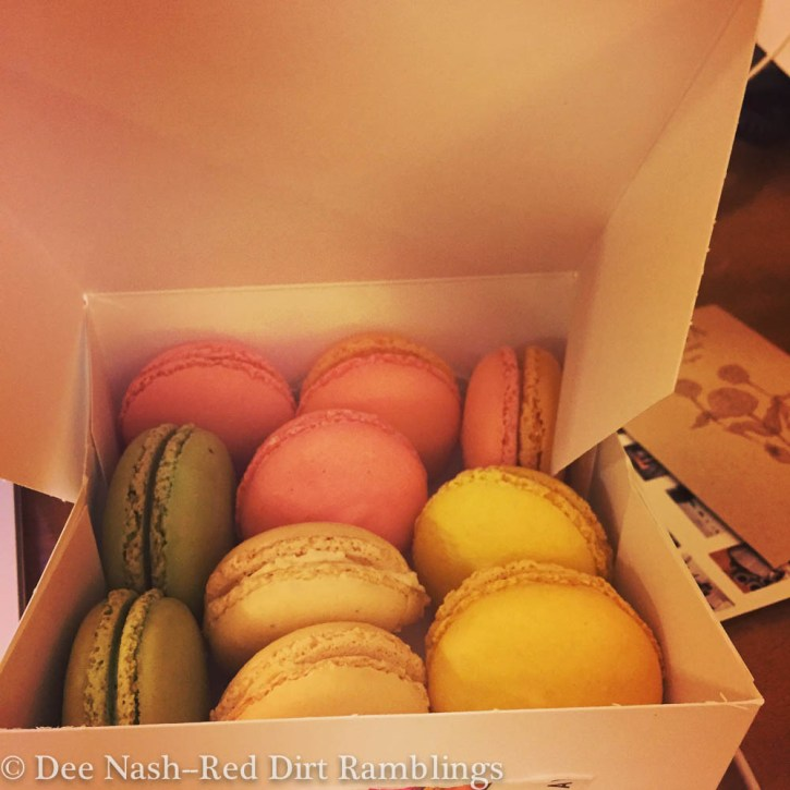 A rainbow of macarons from La Panier in Seattle. --Dee Nash