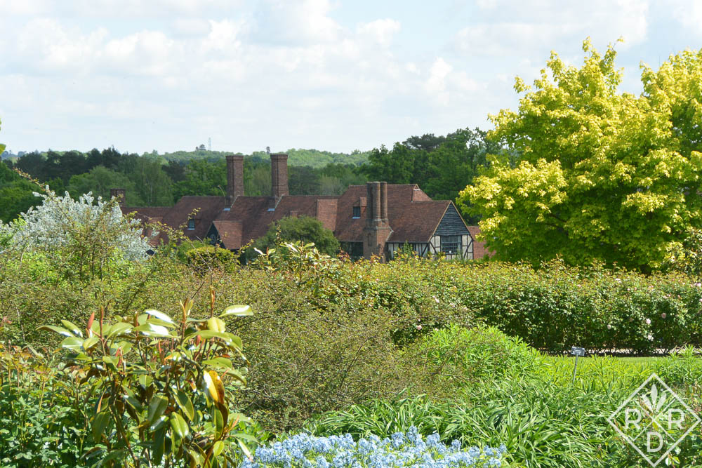 The house at Wisley seen from the far gardens.