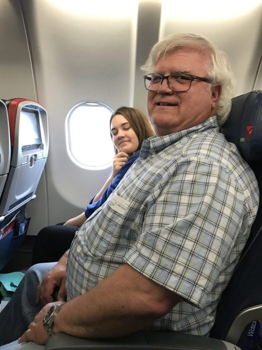 Bill and Bear on the plane to Assisi and Rome. We were very excited even if they don't look like it.