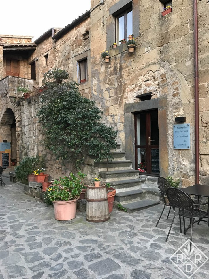 A courtyard in Civita di Bagnoregio, the disappearing city on the hill.