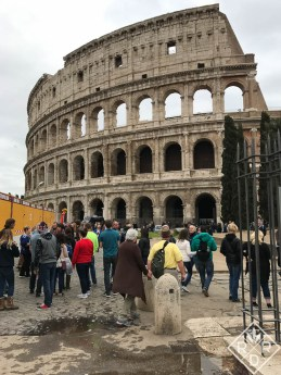 Outside the Roman Colosseum.