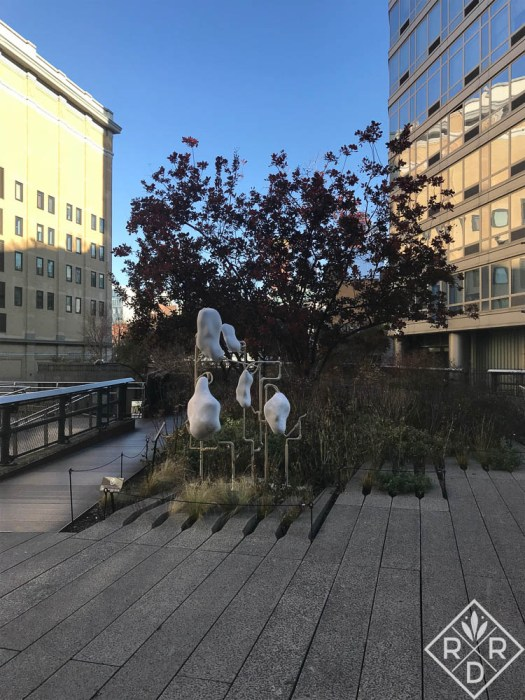 Mutations by Dora Budor, an art installation for 2017 at the High Line. Artwork is featured throughout the park.