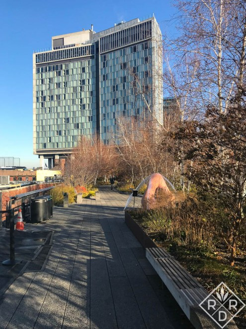 The Standard Hotel sits like an open book atop the High Line. All of the rooms have floor-to-ceiling windows. There is also a bar on the top floor called Top of the Standard. It has a great view of the Hudson River.