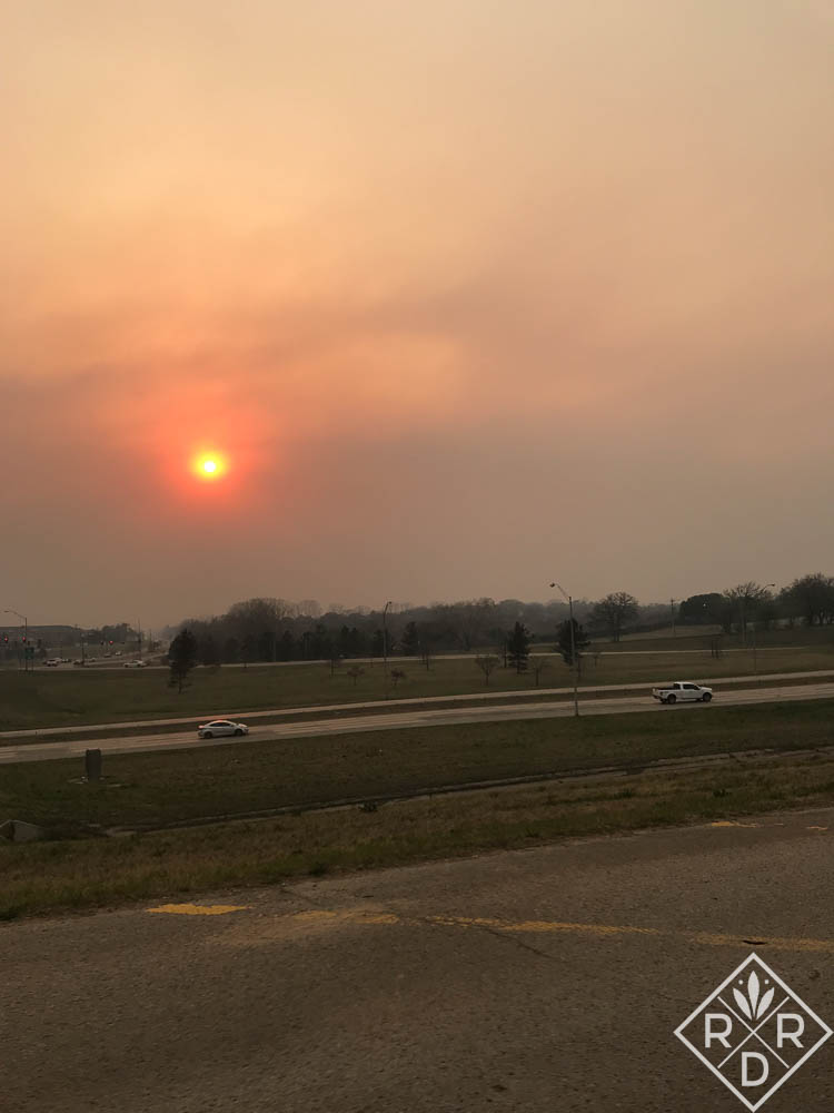 The smoke from the fires out west made our prairie sky red at night.