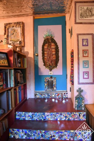 Tiled steps and Our Lady of Guadalupe inside the back door. Lucinda loves Madonnas which are a large part of Mexican culture. Our Lady of Guadalupe is very revered in Mexico.