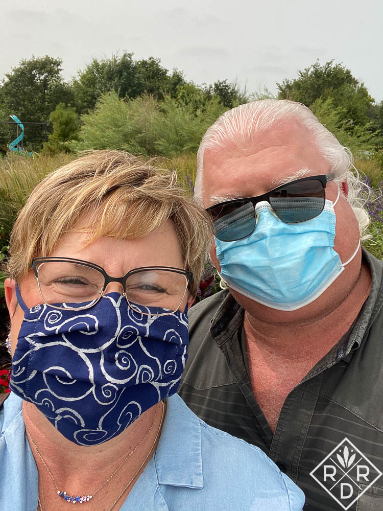 Bill and Dee with masks