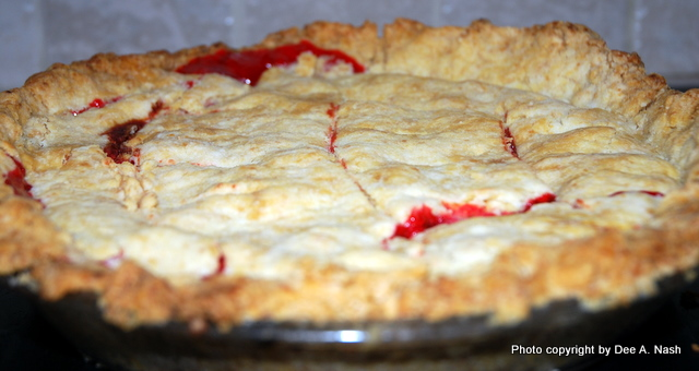 Fresh cherry pie. In fall, I make cherry pie with canned cherries.