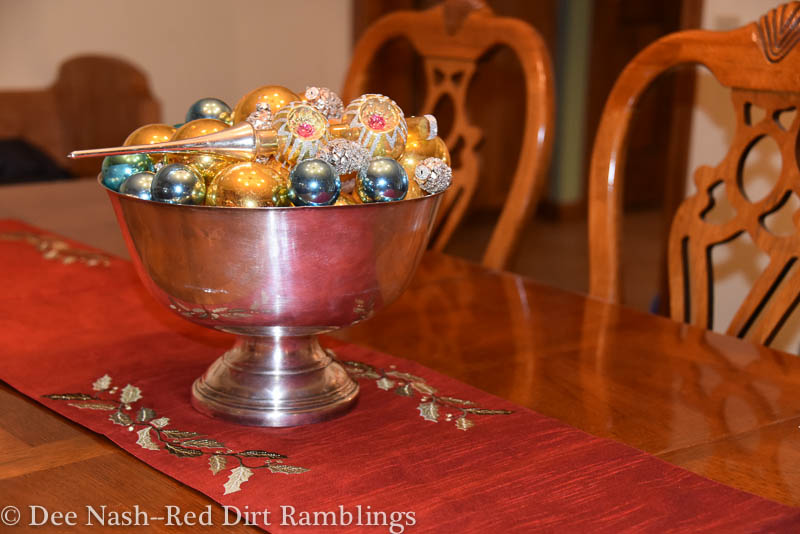 Shiny Brites with new silver pinecone ornaments in a silver bowl.
