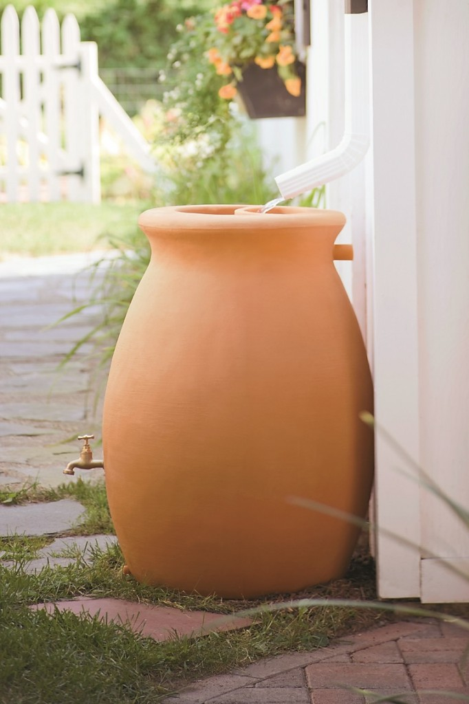 Water-Saving Garden 65-gallon rainwater urn from Gardener's Supply Company. Book Blog party and giveaway