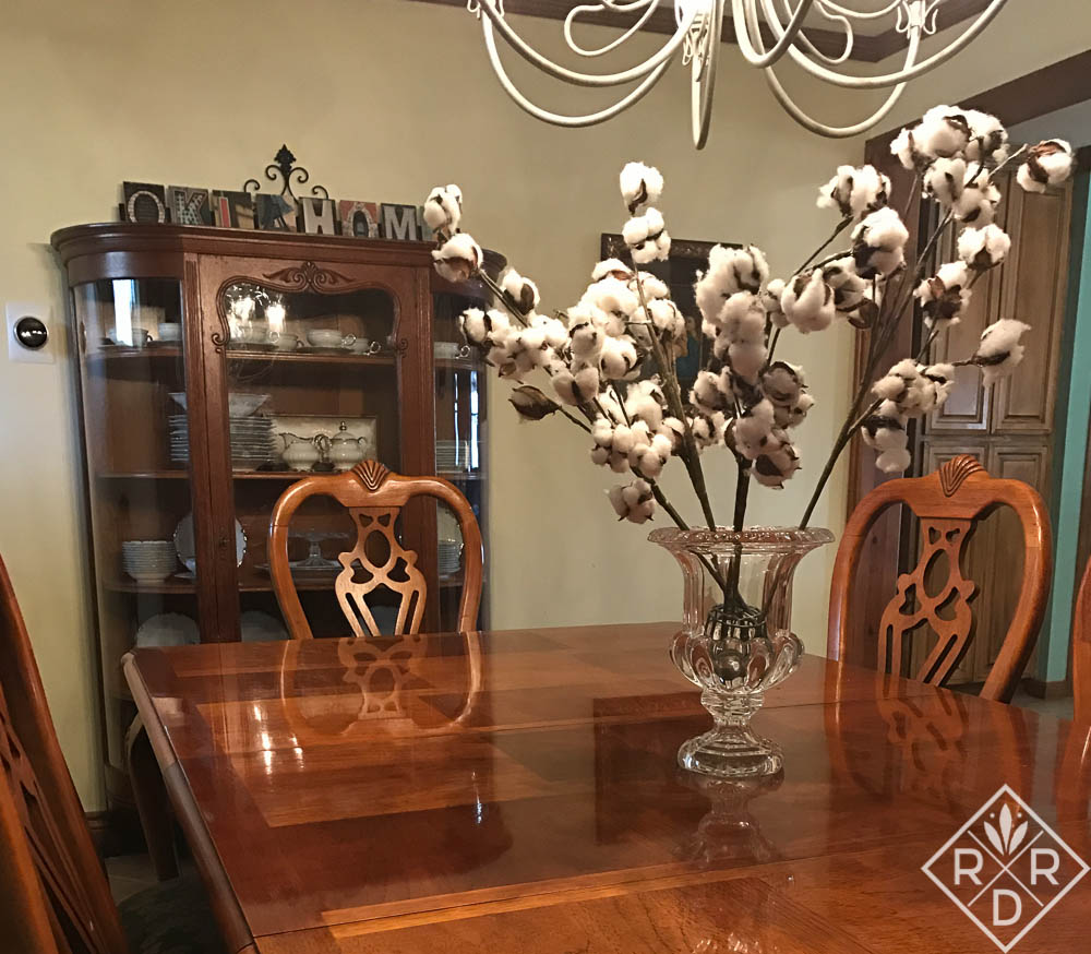 Cotton bolls in a crystal vase ala Joanna Gaines and Fixer Upper. These remind me of stark winter.