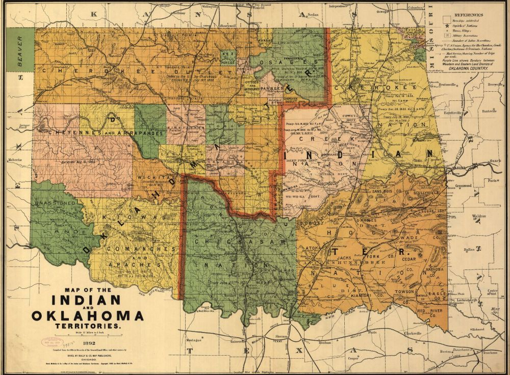 1892 Map of Oklahoma and Indian Territories courtesy of the Library of Congress.