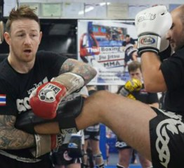 Andy Howson (left) demonstrates his skills at Redditch Community Amateur Boxing Club