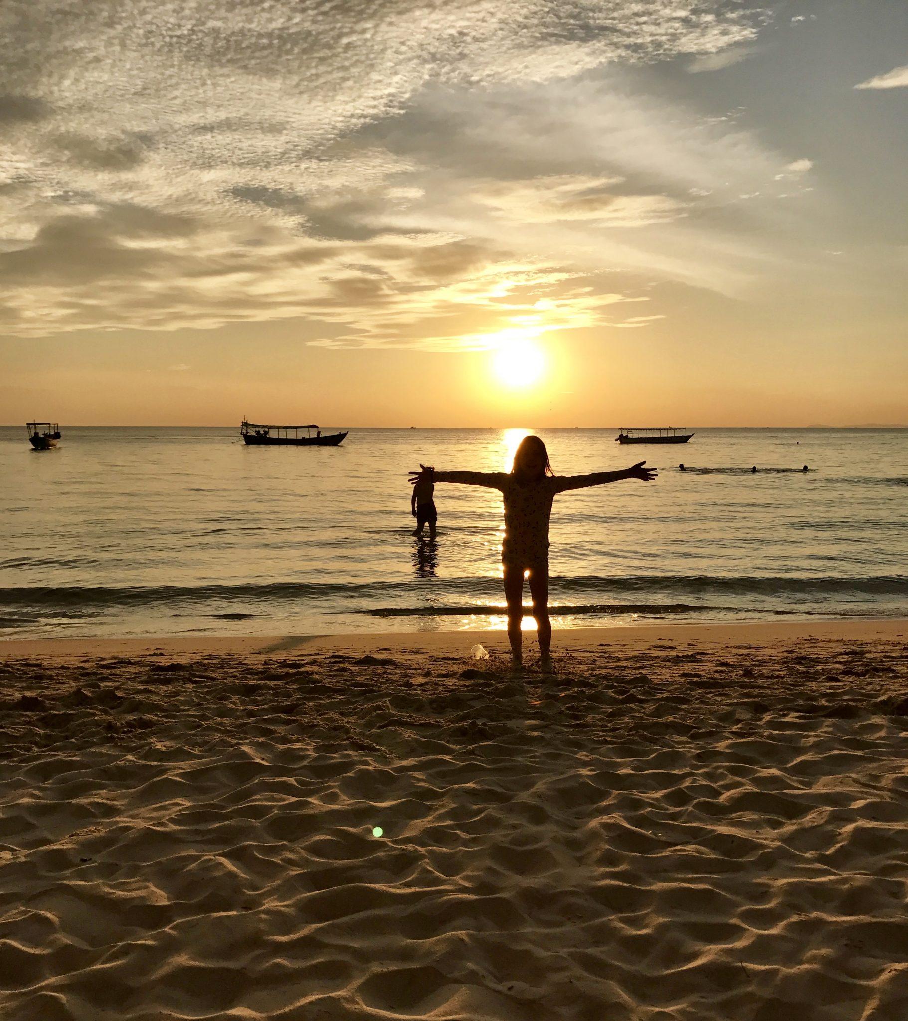 sunset, beach, cambodia, boats, water, sand