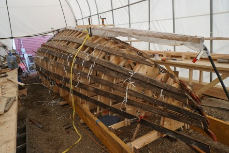 without a 30' steam box the keel was steamed in a bag with steam generators piped in from both ends.