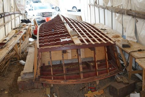 The Transom bow had been replace in the previous restoration work, but we re-established symmetry and adjusted the batten placement.