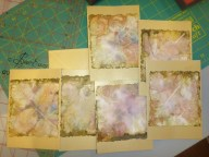 Donna's cards with her lovely ecodyed papers!