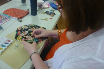 Kim was beading some new hexagons to add to her lovely Kaffe quilt