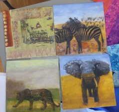 ryl's encaustic pieces she completed in a recent workshop