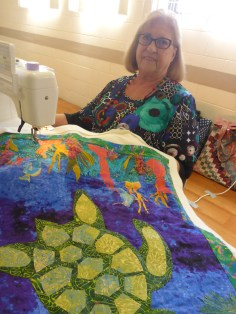 Ryl quilting her turtle