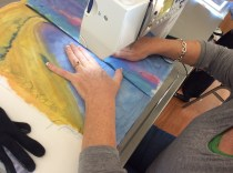 Brenda working on a sunset beach scene which promises to be fabulous when finished.