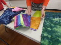 Samples of Alison's hand dyed fabrics. fabulous results from glass jar dyeing.