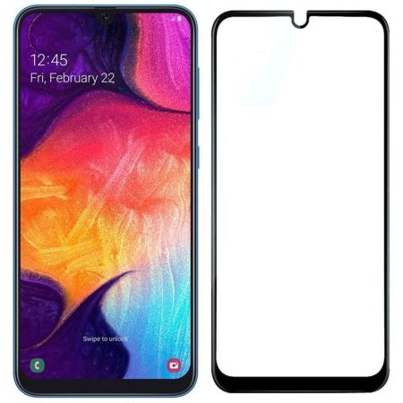 Samsung A10 Full Skærmbeskyttelse – Sort Ramme
