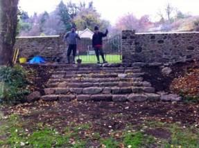 Drystone granite steps.