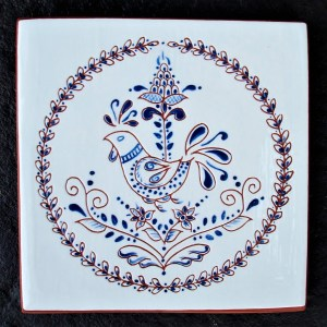6 in. Square Blue Chicken Tile Trivet- $25.