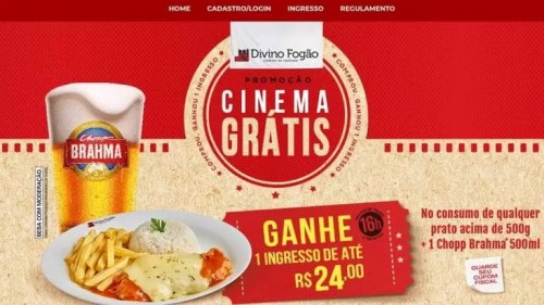 Divino Fogão Dará Prêmios de Ingressos Para Cinema