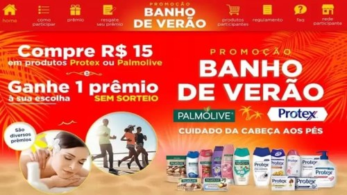 Prêmios da Palmolive e Protex Promoção Banho de Verão