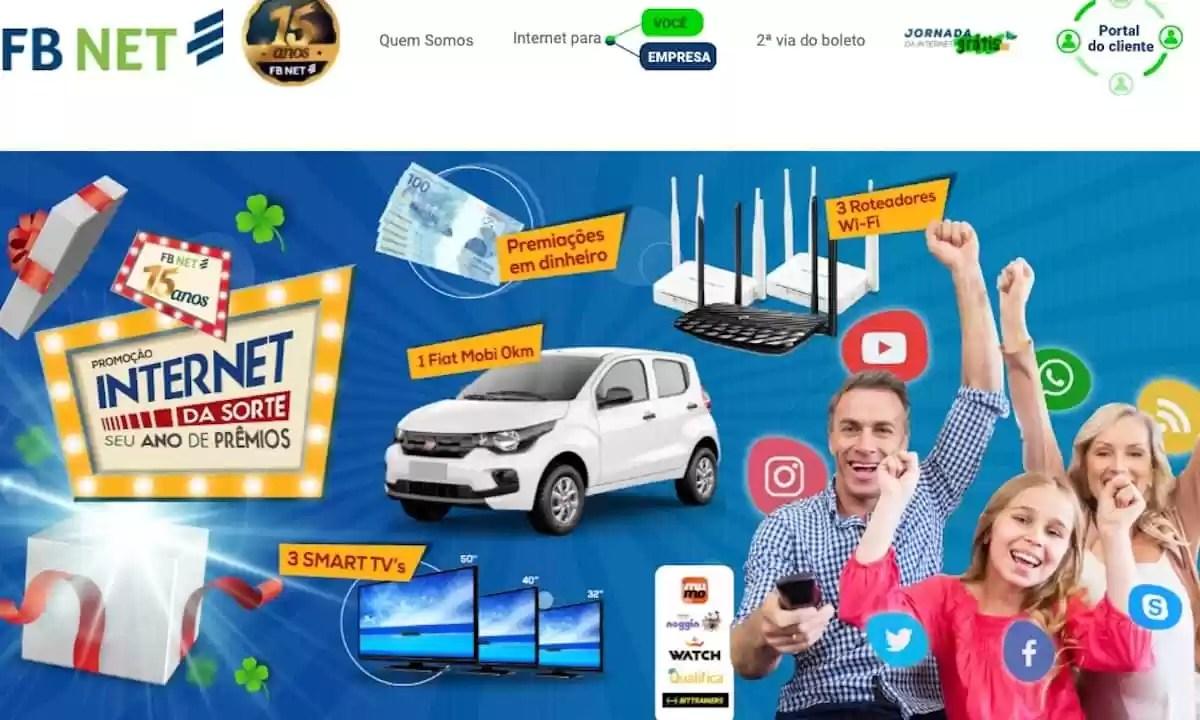 Promoção FB NET 2021 Internet da Sorte Seu Ano de Prêmios