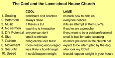 house church is cool. House church is lame.