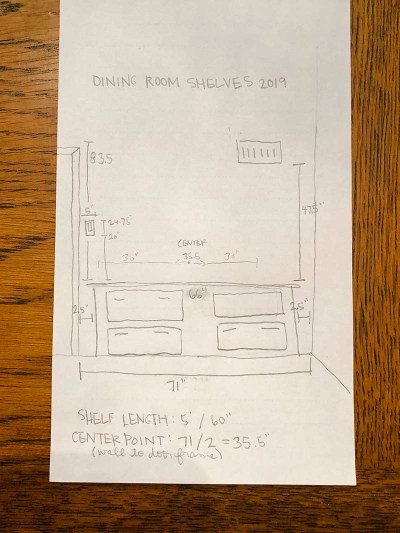Shelving Sketch Measurements