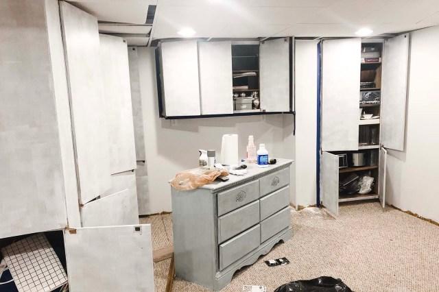 Basement Cabinets Primed