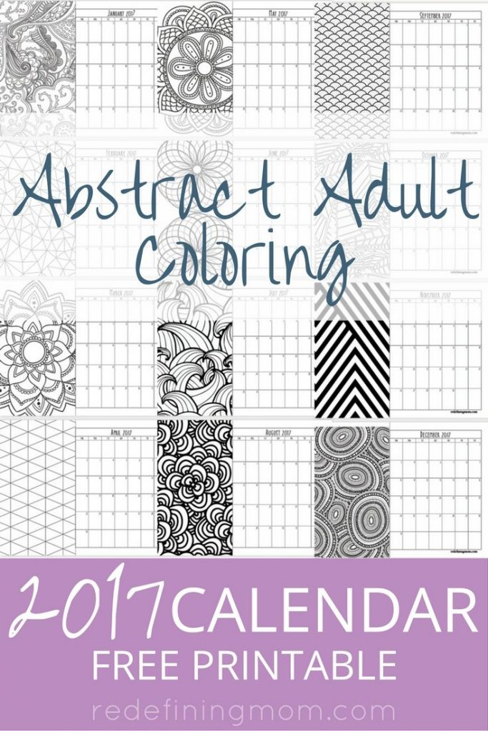 printable abstract adult coloring 2017 calendar adult coloring pages