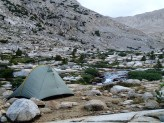 A Room With A View:  A spectacular campsite along the outlet from Lake Italy.