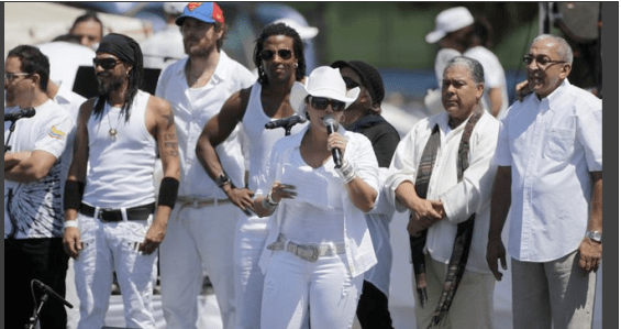 """Puerto Rico's singer Olga Tañon speaks before start of the """"Peace Without Borders"""""""