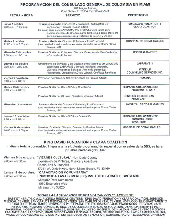 Programación del Consulado General de Colombia en Miami