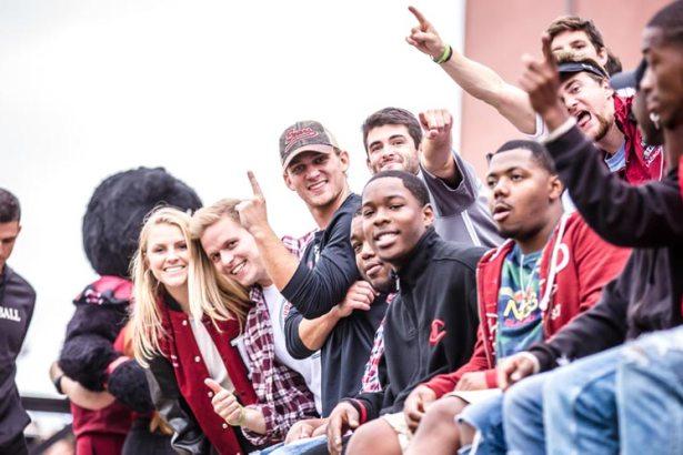 Students cheer at game
