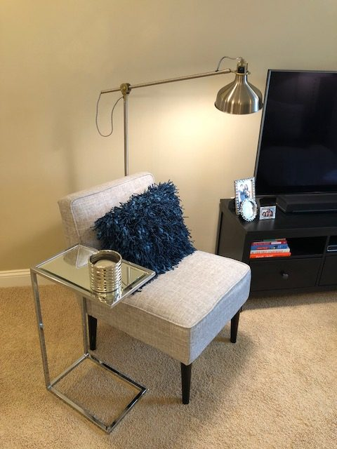 Metallic Side Table and Lamp