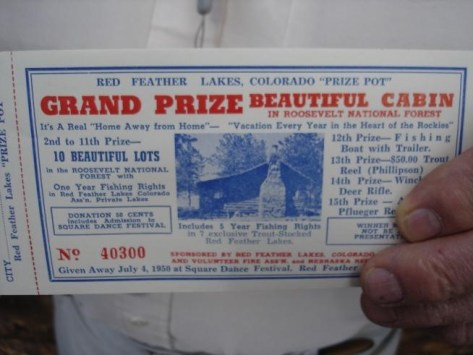 Red Feather Lakes Cabin Raffle Ticket