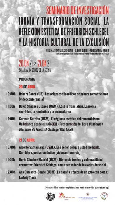Seminario de Investigación en el CBA: Ironía y transformación social. La reflexión estética de Friedrich Schlegel y la historia cultural de la exclusión