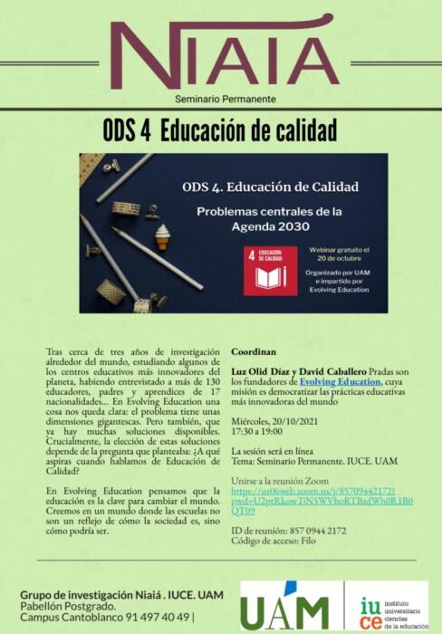 Segunda sesión del Seminario Permanente del grupo Niaiá, «Problemas centrales de la Agenda 2030»: «Educación de calidad»