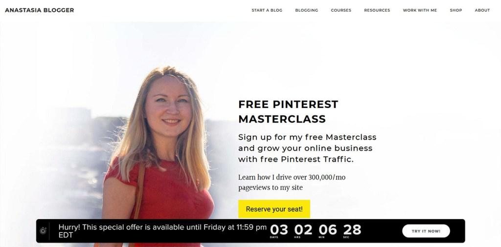 Anastasia Blogger Blog Screenshot