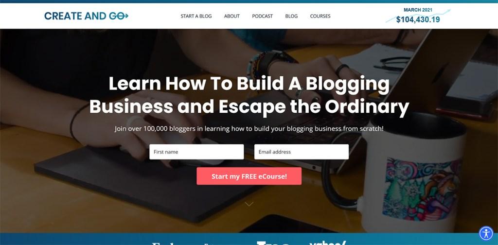 How Much Do Bloggers Earn? Create And Go Blog Screenshot