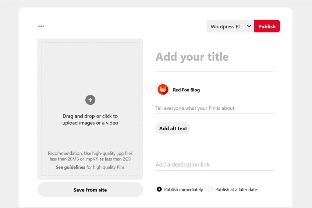 Create Pin Screenshot