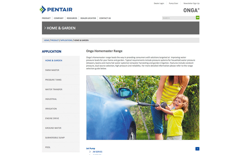 Onga Pentair Responsive Website Design Red Fred Creative