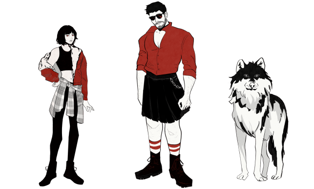 Picture of a dark haired young woman, a burly man in a kilt and a dire wolf