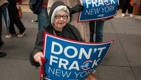 Activists protest fracking outside Gov. Cuomo's office, New York  Photo Credit: Adam Welz/CREDO Action