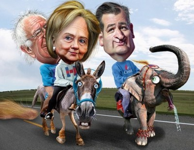 Bernie, Hillary and Ted on the road to the Conventions